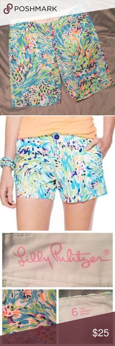 """Lilly Pulitzer Sea Soirée Chipper Short! Resort White Sea Soirée.  100% cotton. 10"""" inseam.  Two front and two back pockets. (One back pocket still sewn closed.)  Zipper closure with two bar hooks.  Beautiful colors! EUC no flaws. Lilly Pulitzer Shorts"""