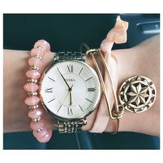 A nice wrist collection with the #Fossil Jacqueline Watch in the center. From #helloimbrittany Instagram.