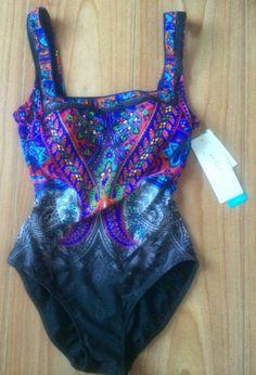 Gottex 6 8 One Piece Gradient Multicolored Swimsuit Padded Shelf Bra NWT