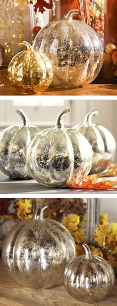 'Looking glass' spray can transform pumpkins into these gorgeous centerpieces! Use a white spray first to get the best effect. Trying this with dollar store pumpkins.