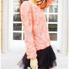 Wholesale cheap t shirts online, Long Sleeve   - Find best  New Women Blouse 3D Rose Flowers sweet Lace Girls Pullover Ladies long Sleeve t-shirts Tops G0044LP at discount prices from Chinese T-Shirt supplier - cntomtop on DHgate.com.