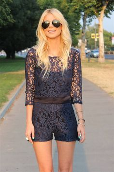 This is a unique romper. I love the length of the sleeves and the lace! Super cute. -AB