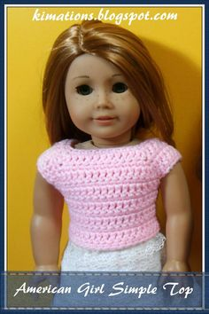 Free crochet pattern for 18 inch doll. Kimations: American Girl Simple Top