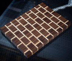 Custom End Grain Cutting Board - Brick Pattern End Grain Cutting Board, Wood Cutting Boards, Butcher Block Cutting Board, Wood Projects, Woodworking Projects, Fun Projects, Wood Chess Board, Brick Patterns, Wood Tray
