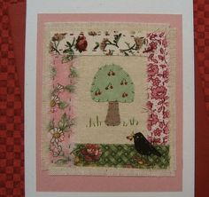 Hand-stitched card by Helen Drewett BLACKBIRD WITH CHERRIES collectable item | eBay