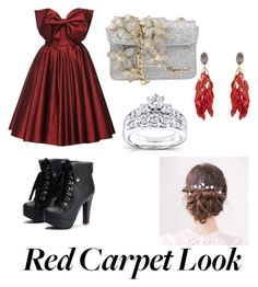 """""""red and silver"""" by natasha-maria-louise-mason on Polyvore featuring Lena Hoschek, Dsquared2, Marni and Kobelli"""