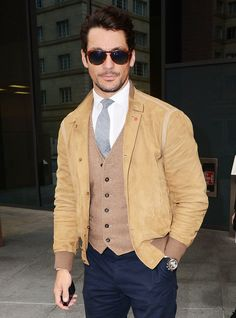 Shirt, tie, waistcoat and very casual jacket. Well done David Gandy.