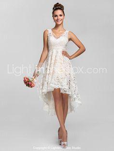 A-line/Princess V-cuello asimétrico de encaje vestido de dama - USD $ 89.69