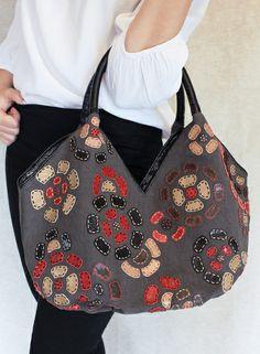 Ipa-Nima ESTELA Handtasche aus Leinen Leder Seide von geccoLifestyle auf DaWanda.com