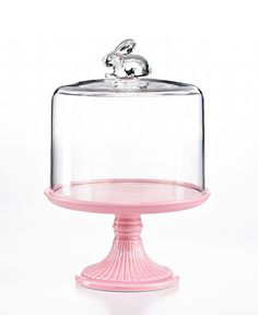 Martha Stewart Collection Serveware, Pink Cake Stand with Rabbit Dome