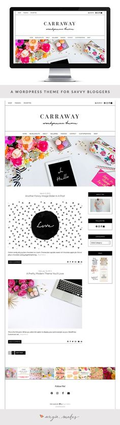 A sleek, feminine WordPress theme for savvy bloggers and business owners. Super clean lines and customization options galore! This is a WordPress theme you'll totally love.