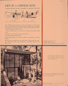 "1950 article about the Eames House entitled ""Life in a Chinese Kite"" Mid Century Exterior, Charles & Ray Eames, Chinese Architecture, House Plans, Desk Chair, Shabby Chic, How To Plan, Living Room, Kite"