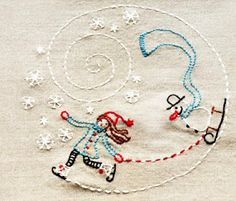 Free embroidery pattern for winter scene