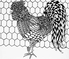 Rooster Poster featuring the drawing Zentangle Rooster by Jani Freimann