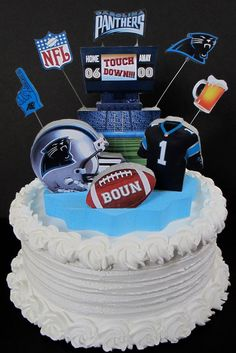 Carolina Panthers football cake topper 3D birthday decoration by DesignsByKeiko