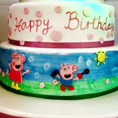 Peppy Pig birthday cake close up by Synie's