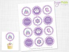 Princess Cupcake Toppers, Princess Birthday Toppers, Princess Toppers, Purple Princess Birthday Party Decorations, PRINTABLE - 2.25 inch