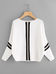 Shop Plus Striped Panel Batwing Sleeve Jumper online. SHEIN offers Plus Striped Panel Batwing Sleeve Jumper & more to fit your fashionable needs. Fashion Online Shop, Trendy Outfits, Fashion Outfits, Fashion Fashion, Fashion Ideas, Fashion Maker, Vintage Fashion, Fashion Black, Fashion Styles