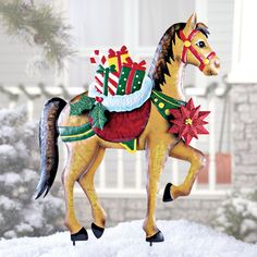 Holiday Horse with Gifts Garden Stake