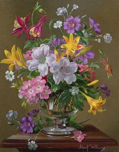 Summer Arrangement In A Glass Vase Art Print by Albert Williams.  All prints are professionally printed, packaged, and shipped within 3 - 4 business days. Choose from multiple sizes and hundreds of frame and mat options.