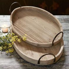 Oval & Iron Trays, Set Of Sandblasted fir and iron handles lends these serving trays a rough-hewn appeal. Set of Small, x x Large, x x Wood Patio Furniture, Square Tray, Iron, Decor, Birthday, Kitchen, Christmas, Products, Wings