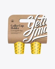 Kraft Coffee Cup Carrier Mockup. Preview
