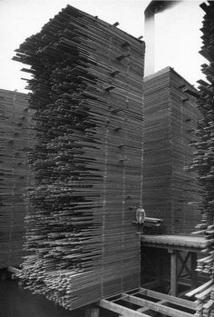 Stacks of drying lumber at the Seattle Cedar Manufacturing Plant, Ballard, 1958. This and other Ballard mills turned out millions of shingles and board feet of lumber until the shrinking supply of...