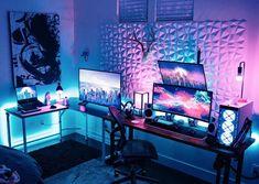 Gaming Desk Setup, Computer Gaming Room, Best Gaming Setup, Computer Setup, Pc Setup, Gaming Rooms, Cool Gaming Setups, Bedroom Setup, Bedroom Ideas