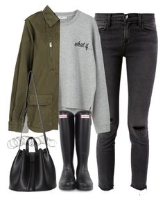"""""""outfit for winter with wellington boots"""" by ferned on Polyvore featuring J Brand, MANGO, H&M and Hunter"""