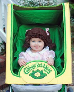 Cabbage Patch Kids costume idea - there's a link to buy the crochet wig and a printable birth certificate based on the vintage #80s birth certificates that came with the dolls! http://www.liketotally80s.com/2014/09/80s-costume-cabbage-patch/