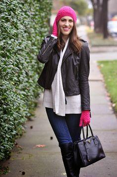 Brooke du jour | Talbots pink pom pom beanie