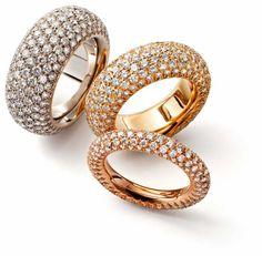 Trudi Chèvre - White-, Jellow- and Redgold Diamondrings