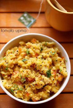 tomato upma recipe - tangy and spicy upma made with sooji-rava (cream of wheat/semolina), tomatoes and spices. #vegetarian #indianbreakfast