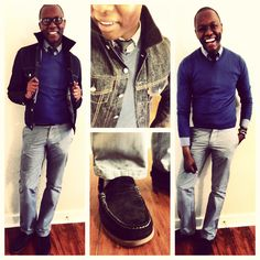 #Blues   Jacket - @Levi Shaffer #Trucker #Rinse  Sweater - @Gap #Merino #Wool  Shirt - @J.Crew #Micro #Check  Pants - @Hollie Baker #Grey  Belt - @J.Crew #Dring  Tie - @Tommy Hilfiger #Navy  Shoes - @Sperry Top-Sider #AO #Suede #Penny #Chocolate   Watch - @Rosenda Calloway #Weekender   Glasses - @Victor Mota  #MensFashion