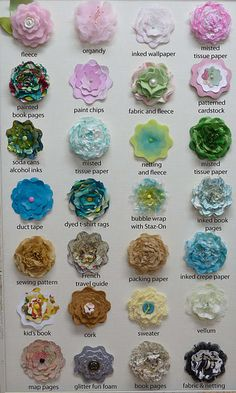 Suggestions for materials to use for flowers. From tissue paper to bubble wrap.