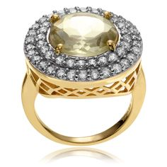 Journee Collection 14k Goldplated Metal Green CZ Accent Round Ring