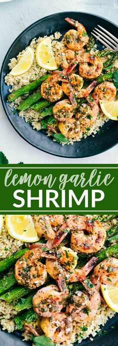 Simple and DELICIOUS Lemon Garlic Shrimp with the best butter sauce! via chelseasmessyapron.com #shrimp #garlic #butter #dinner #easy #30minutes #roasted #asparagus #easy #quick #kidfriendly