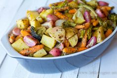 Easy, Delicious Roasted Veggies - Vegetables of your using, garlic powder, olive oil, whole-grain mustard, Herbs de Provence, sea salt and pepper