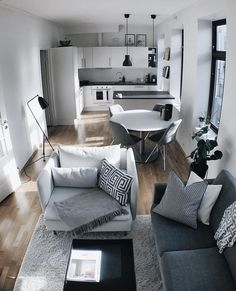 Smart DIY Small Apartment Decorating Ideas on a Budget # . Smart DIY Small Apartment Decorating ideas on a budget Source. Small Apartment Living, Small Apartment Decorating, Small Living Rooms, Kitchen With Living Room, One Room Apartment, Kitchen Small, Budget Living Rooms, Neutral Living Rooms, Small Open Kitchens