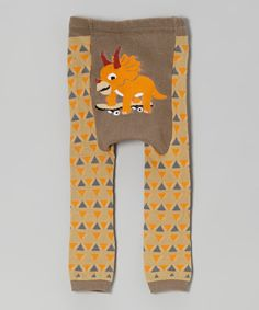 Take a look at this Doodle Pants Green & Orange Dino Leggings on zulily today!