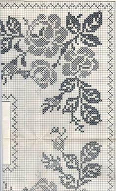 Filet Crochet Charts, Crochet Borders, Crochet Diagram, Afghan Crochet Patterns, Weaving Patterns, Crochet Stitches, Cross Stitch Borders, Cross Stitch Rose, Cross Stitch Designs