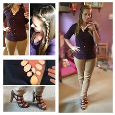 Work outfit. Ootd. Camel pants. Deep purple blouse. Pumps. Braid. Hair.   Follow my Instagram for more hairstyles & outfit ideas: AbFabHairstyling