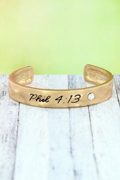 """Share your favorite verse with this simple, yet stylish cuff. Worn Goldtone Crystal Accent """"Phil Inscribed on Bracelet Inside Circumference Including Gap Wide No Closure Lead Compliant John 14 6, Religious Jewelry, New Fashion, Cuff Bracelets, Fashion Jewelry, Crystals, Stylish, Simple, Leather"""