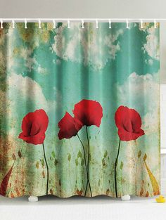 Vivid Bright Floral Printed Shower Curtain - COLORMIX W71INCH*L71INCH