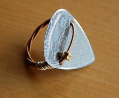 Steel Guitar Pick Ring with Guitar String  Davy by Saratude, $15.75