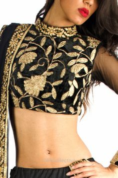 black and gold high neck saree blouse (choli) Sari Blouse Designs, Choli Designs, Saree Blouse Patterns, Indian Attire, Indian Wear, Indian Outfits, Indian Dresses, Ethnic Fashion, Asian Fashion