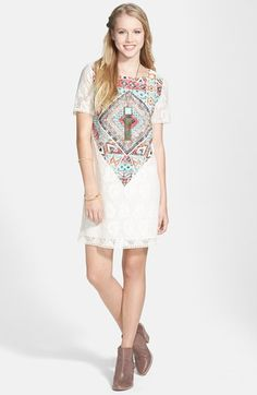 Everly Print Lace Shift Dress (Juniors) (Online Only) available at #Nordstrom