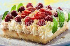 Συνταρακτική τούρτα ραβανί με αρωματική κρέμα σε συνταγή της Ντίνας Νικολάου   eirinika.gr Syrup Cake, Greek Sweets, Greek Recipes, Confectionery, Baked Potato, Sushi, Sweet Treats, Cheesecake, Fruit