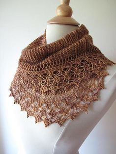 Knitted lace edged shawl