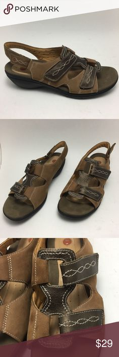 """CLARKS UN STRUCTURED Walking Sandals Comfort CLARKS UN STRUCTURED Walking Sandals Comfort Women's Size: 8 1/2 Color: Taupe & Brown Material: Leather Upper (soft and lightweight) Toe to Heel Approx: 10 """" Width at Widest Point Approx: 4"""" Heel Height: 1 1/2  """" Excellent pre-owned condition- like new.  Please view all photos for details carefully before purchased. These are part of the description and contact if you have further questions. Thank you for looking! Clarks Shoes Sandals"""
